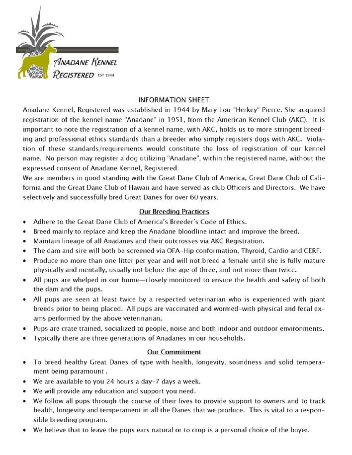 Anadane Kennel, Registered AKC Great Danes in Charleston SC